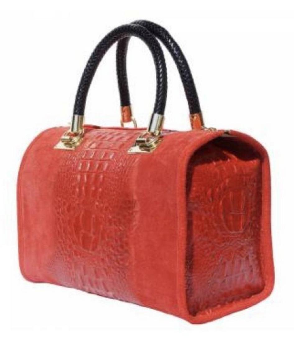 EMMA Boston-Style bag Alligator Patterned Calf Leather