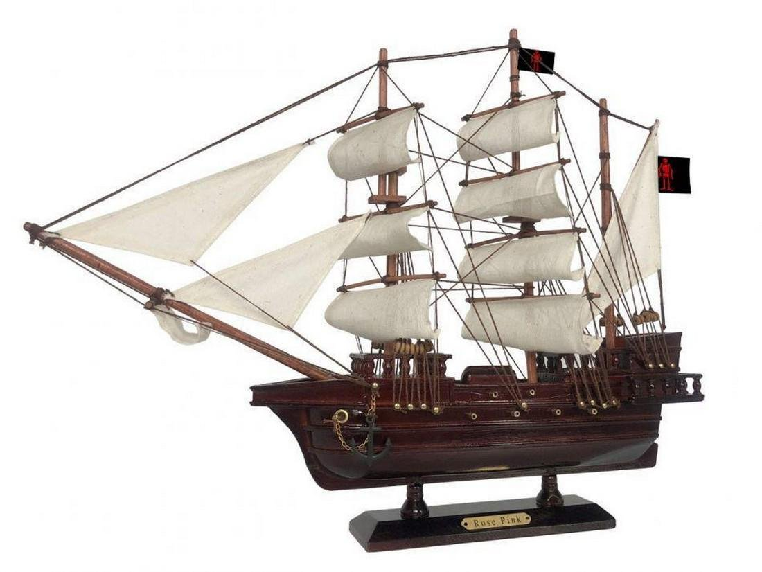 Wooden Ed Low's Rose Pink White Sails Pirate Ship Model