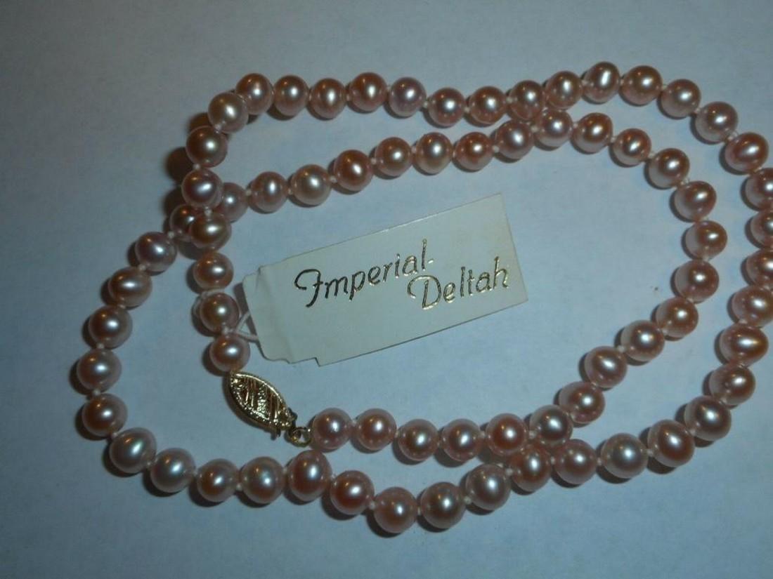 6mm Lavender Pink 14K Imperial Deltah Cultured Pearls