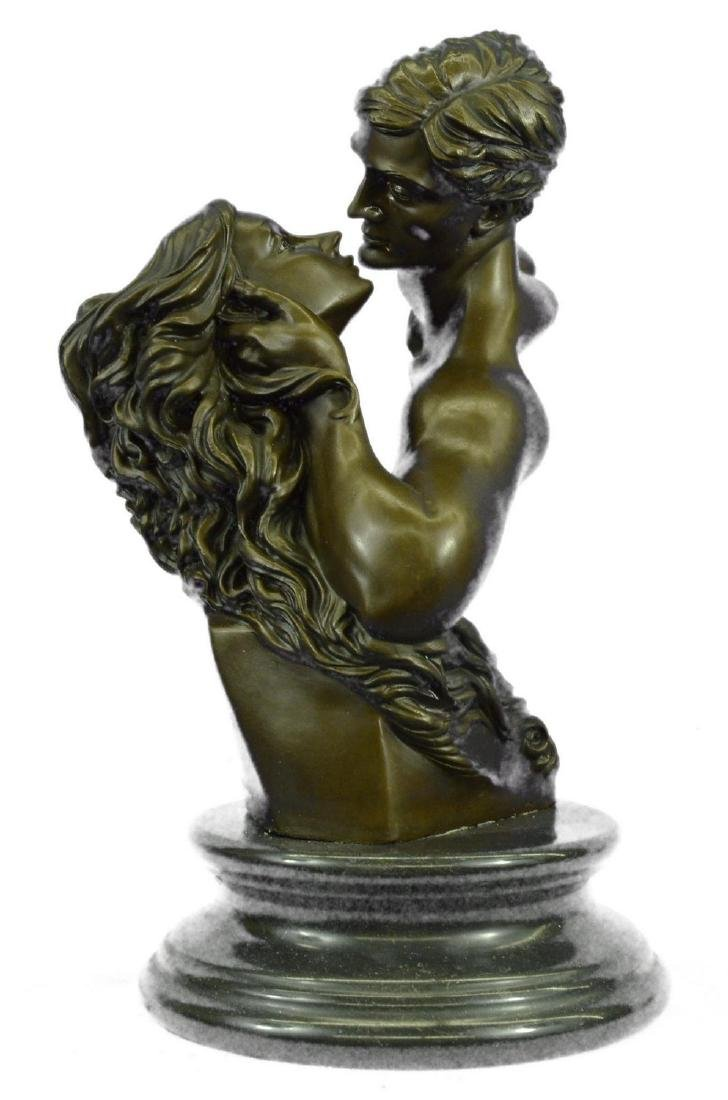 "Romantic Bronze Sculpture of Lovers Kissing 17"" x 9"""