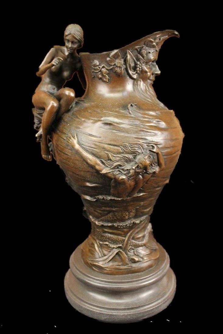 Decorative Bronze Wine Decanter Vase w/ Greek Gods &