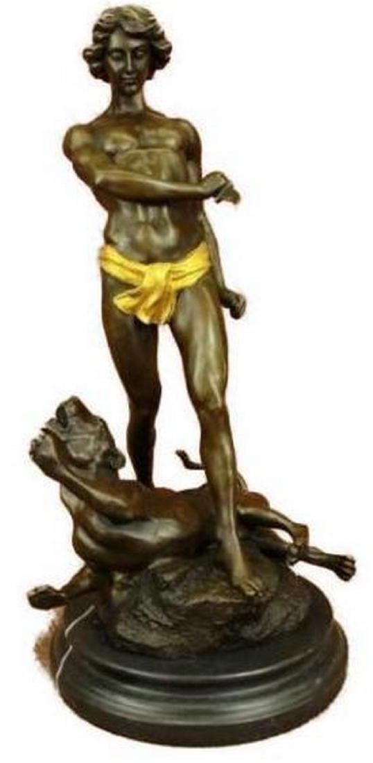 Gold Patina Young Tarzan Killing Leopard Bronze