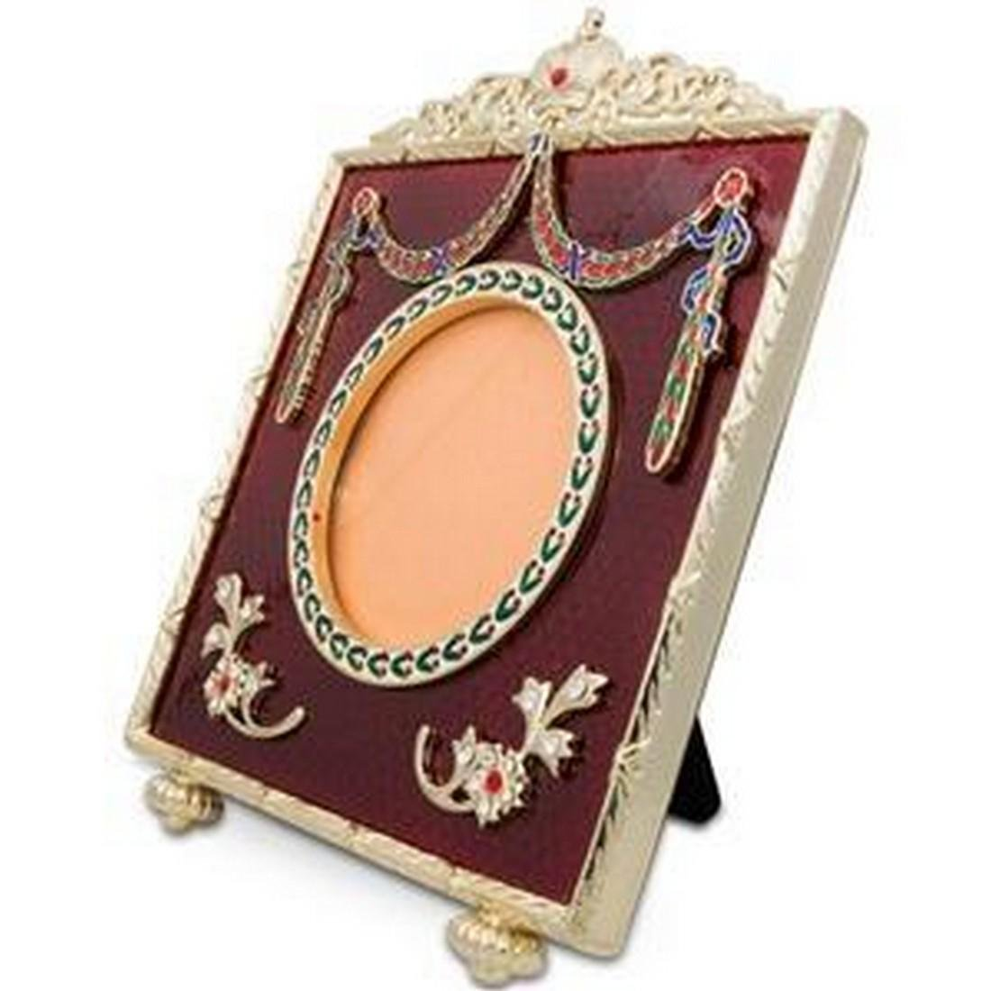 """5"""" Faberge-Inspired Square Red Enameled Guilloche"""