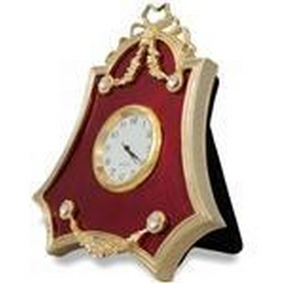 "4"" Faberge-Inspired Red Enameled Guilloche Russian"