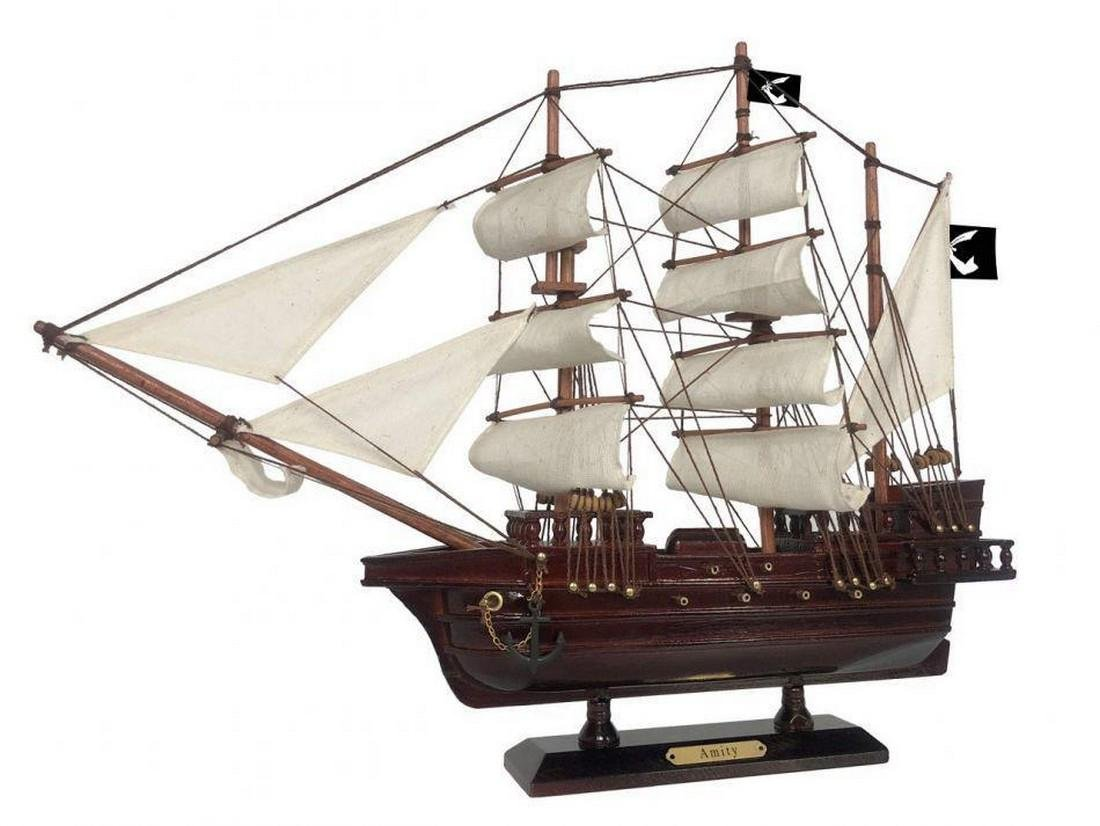 Wooden Thomas Tew's Amity White Sails Pirate Ship Model