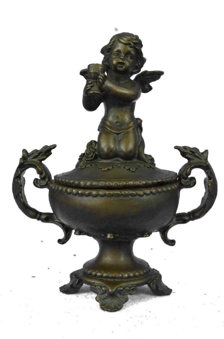 "Vintage Style Bronze Cherubim Urn Jewelry Box 8.5"" x 6"""