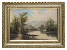 Framed Oil On Canvas Painting Landscape With Cabin