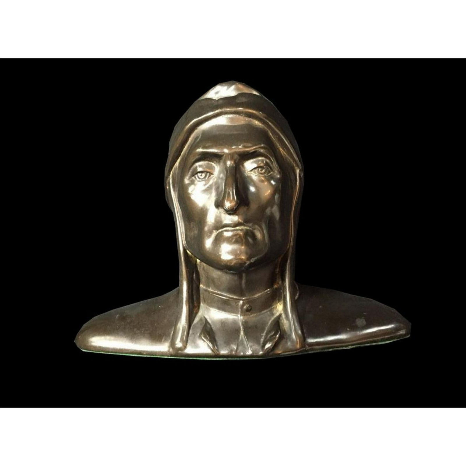 Early 1900's Cast Bronze Bust of Dante