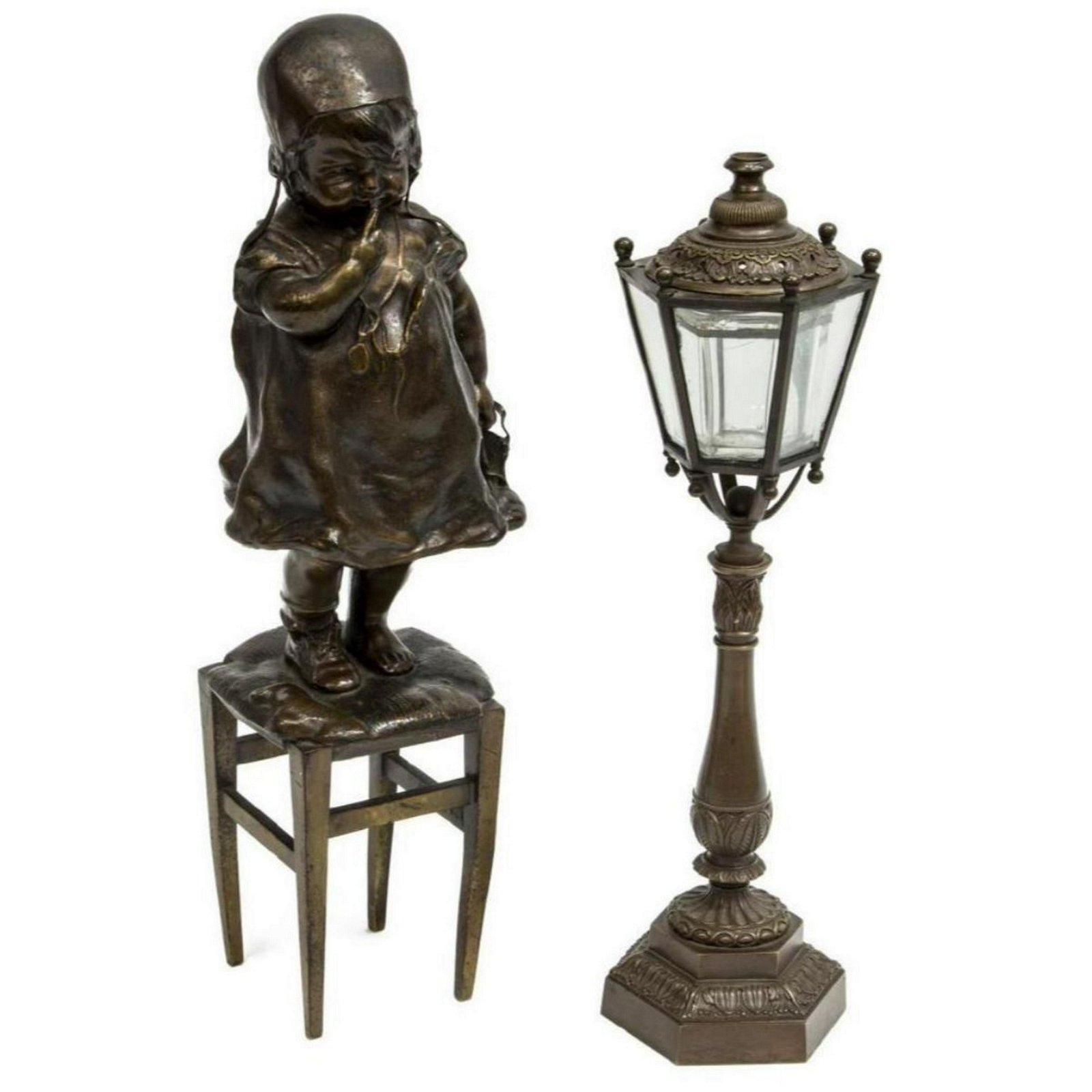 (2) Group Of Bronze Items, Cigar Lighter, Figure