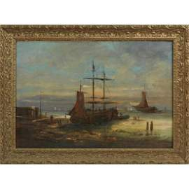 """French School, """"Fishing Boats In The Harbor,"""" 19th C.,"""