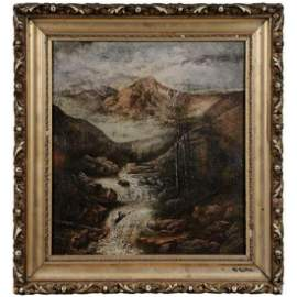 Fabulous Western Landscape oil with original frame and