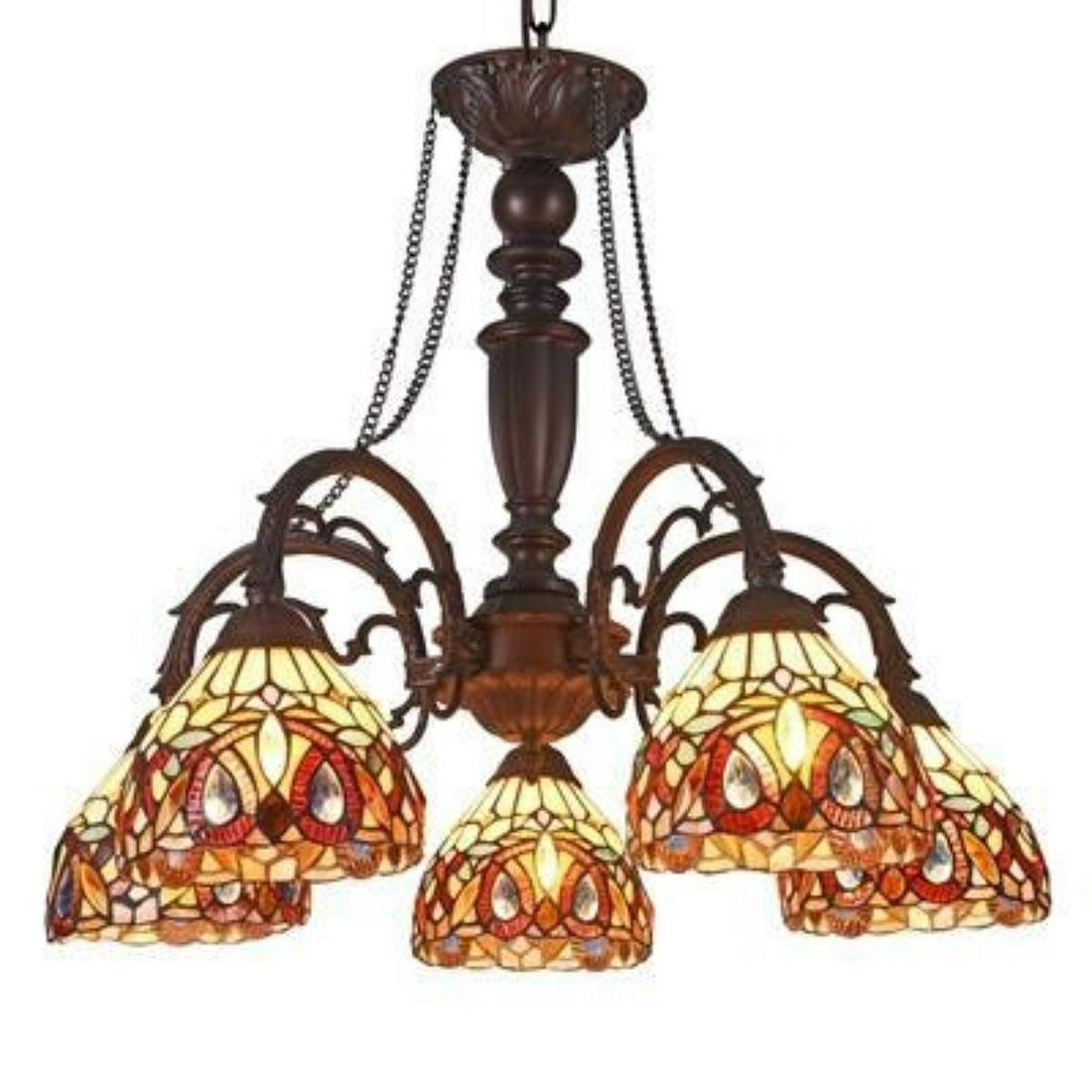 Tiffany-style 5 Light Victorian Large Chandelier 27""
