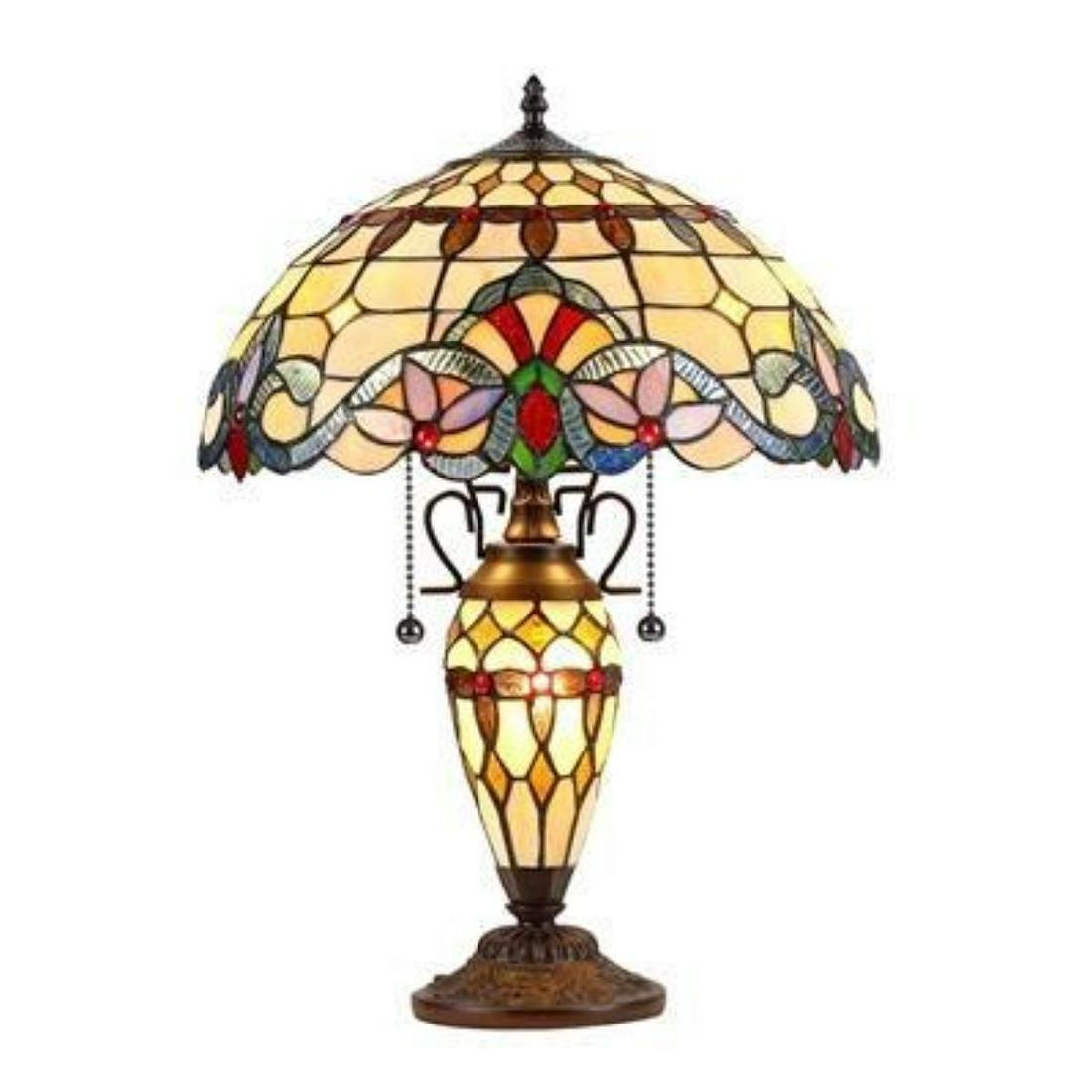Tiffany-style 3 Light Victorian Double Lit Table Lamp
