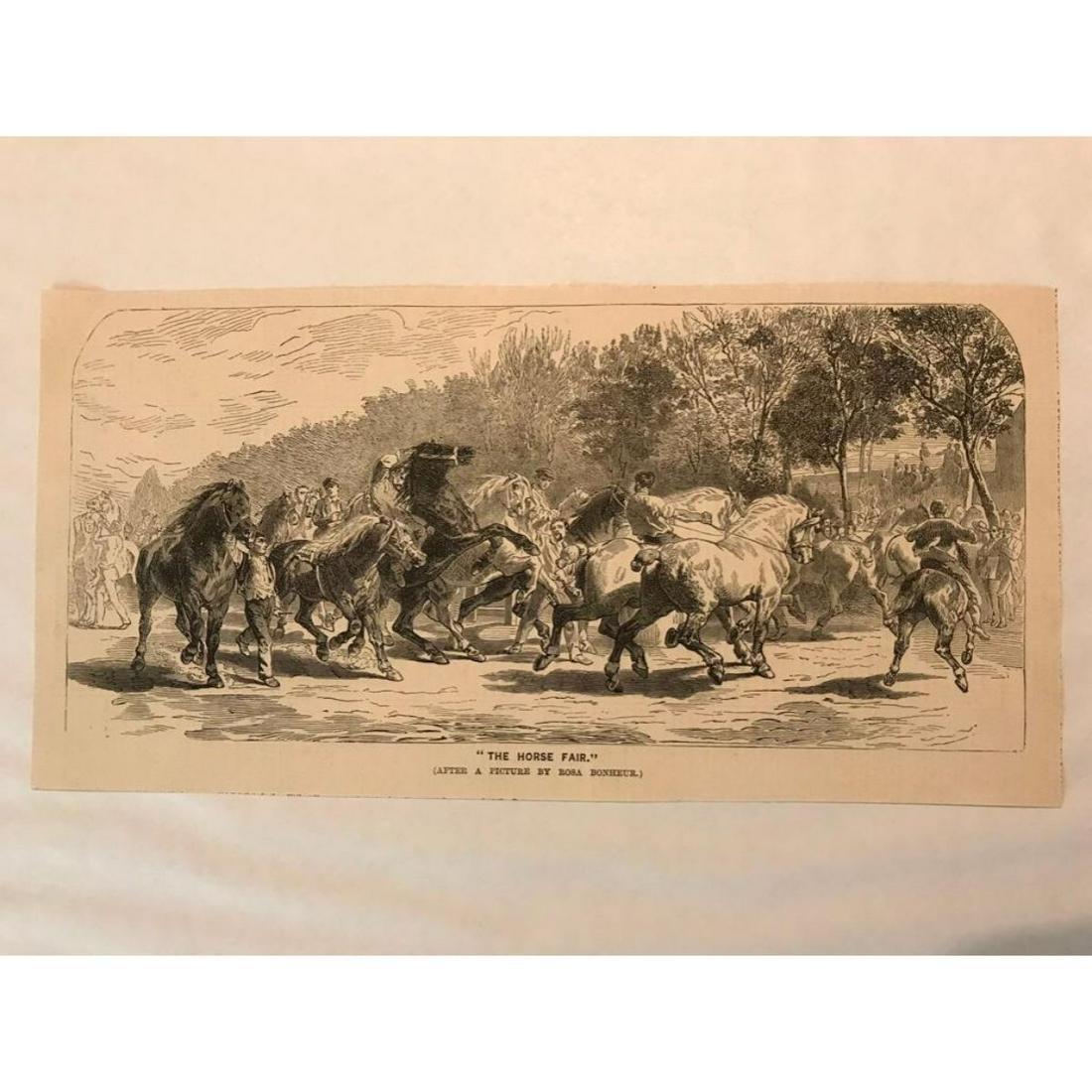 19thc Wood Engraving, After Bonheur The Horse Fair