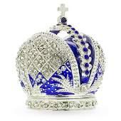 Bejeweled Royal Crown Jewelry Trinket Box Figurine