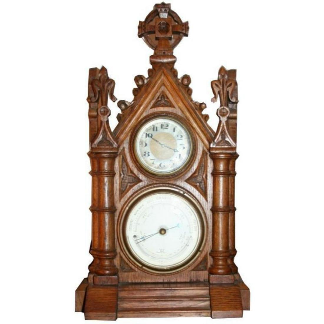 Early 20thc Gothic Oak Wall Clock & Barometer