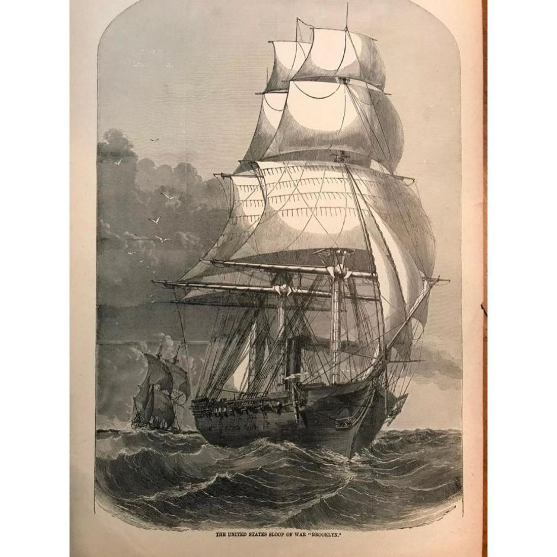 19thc Wood Cut Engraving, Sailing Vessel, War Ship