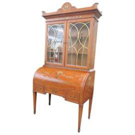 Adams Style Paint Decorated Bookcase Cylinder Desk