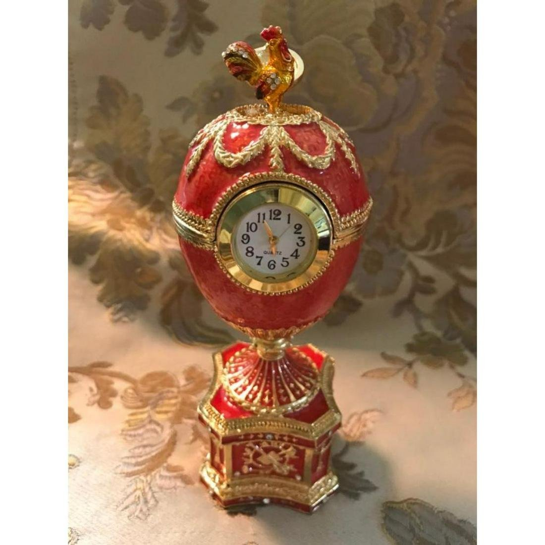 Russian Faberge-style Royal Chanticleer Trinket Jewel
