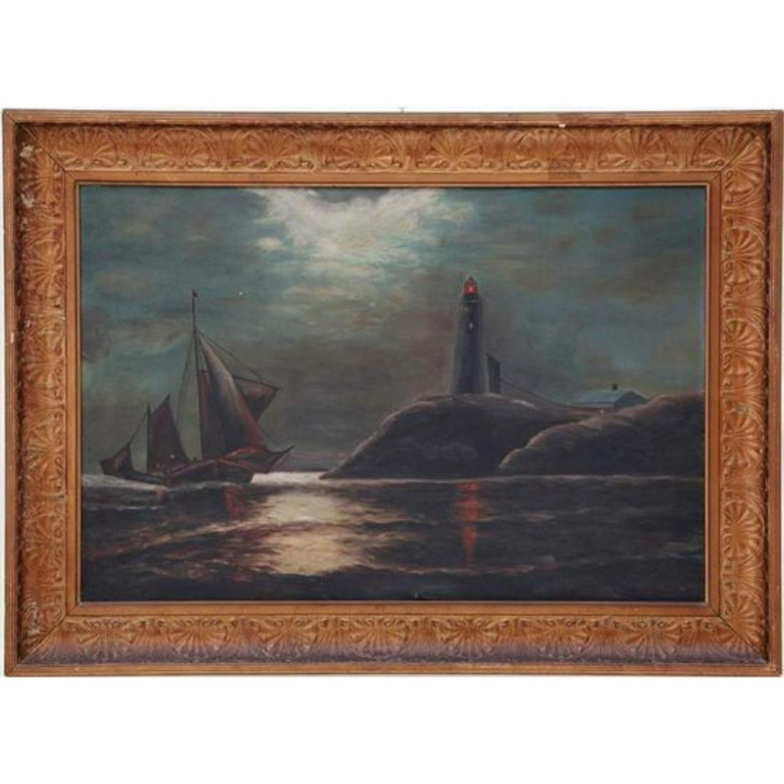 c1900 Lighthouse In Moonlight Oil Painting by Louis