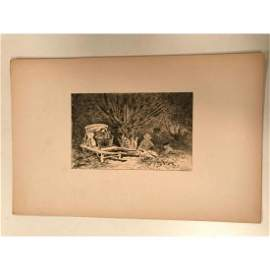 Original 19thc French Etching, Dry Point Engraving by