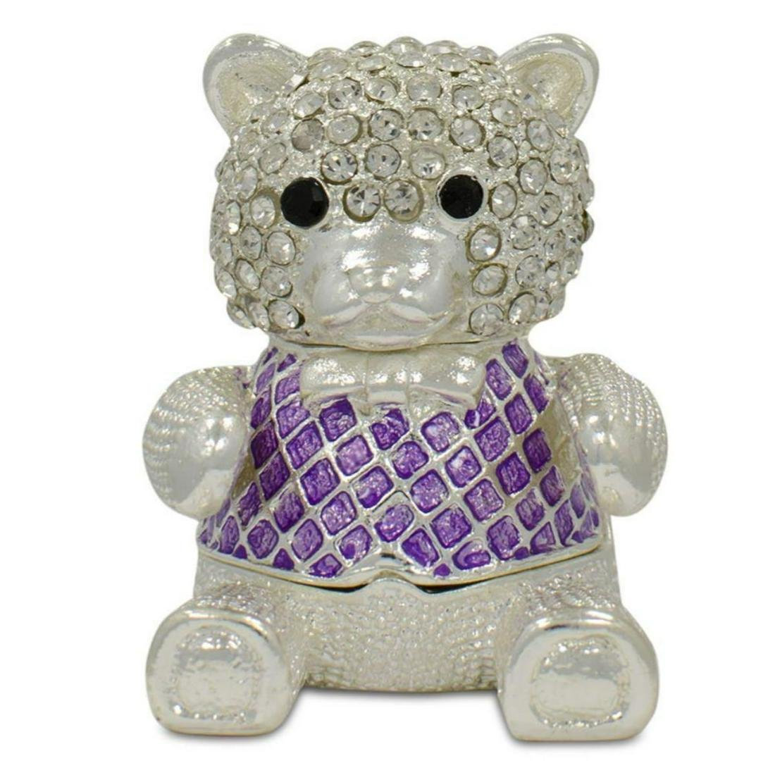 Crystal Teddy Bear Trinket Box Figurine 2 Inches