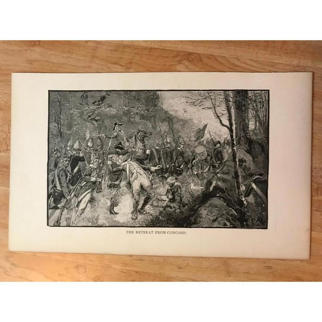19thc Engraving, Revolutionary War Scene, The Retreat