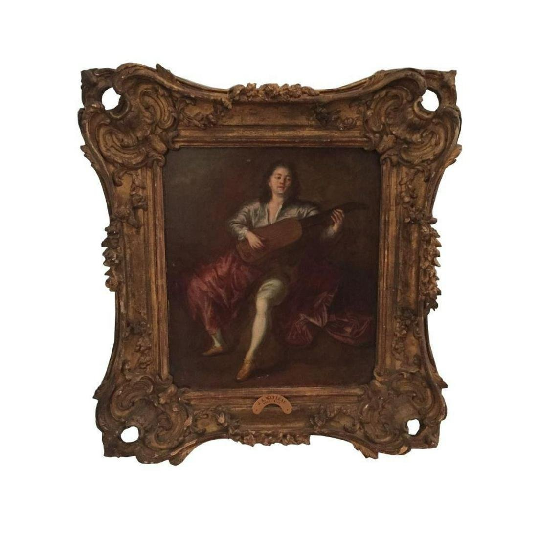 School of Watteau, Lute Player Oil Painting