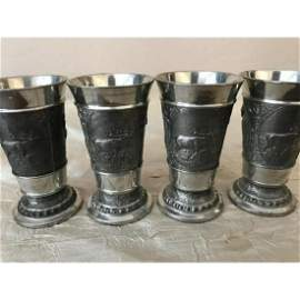 Set of German Pewter Repousse Hunting Goblets