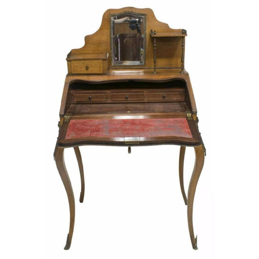 French Louis Xv Style Marquetry Secretary Desk