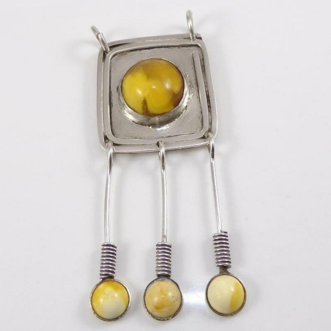 Vintage Egg Yolk Amber & Sterling Silver Modernest