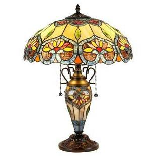 Tiffanystyle Floral Double Lit Table Lamp