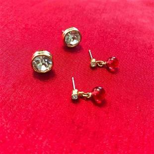 Two Pairs Swarovski Crystal Post Earrings