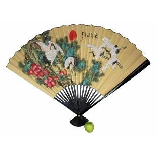 Large Size Chinese Cranes Decorative Fan