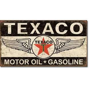 Texaco Motor Oil Gasoline Winged Logo Metal Advertising