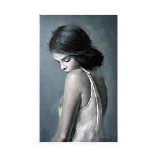 Beautiful Young Girl Signed Oil Painting