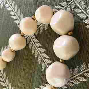 Vintage MidCentury Costume Bead Necklace Earrings