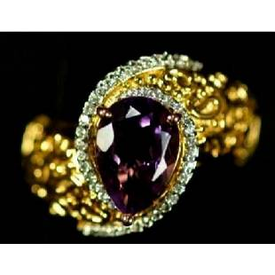 301ct Pearshaped Amethyst Costume Cocktail Ring
