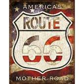 Route 66 Americas Mother Road American Flag Metal