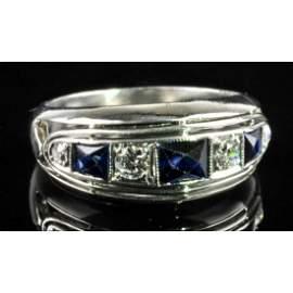 Natural Blue Sapphires & Diamond Platinum Ladies Ring