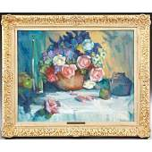 20thc Signed Still Life Floral Oil Painting