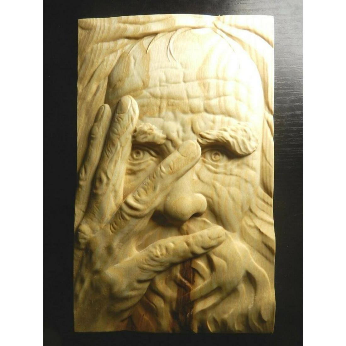 Lithuanian Carved Wood Picture, Old Man's Face