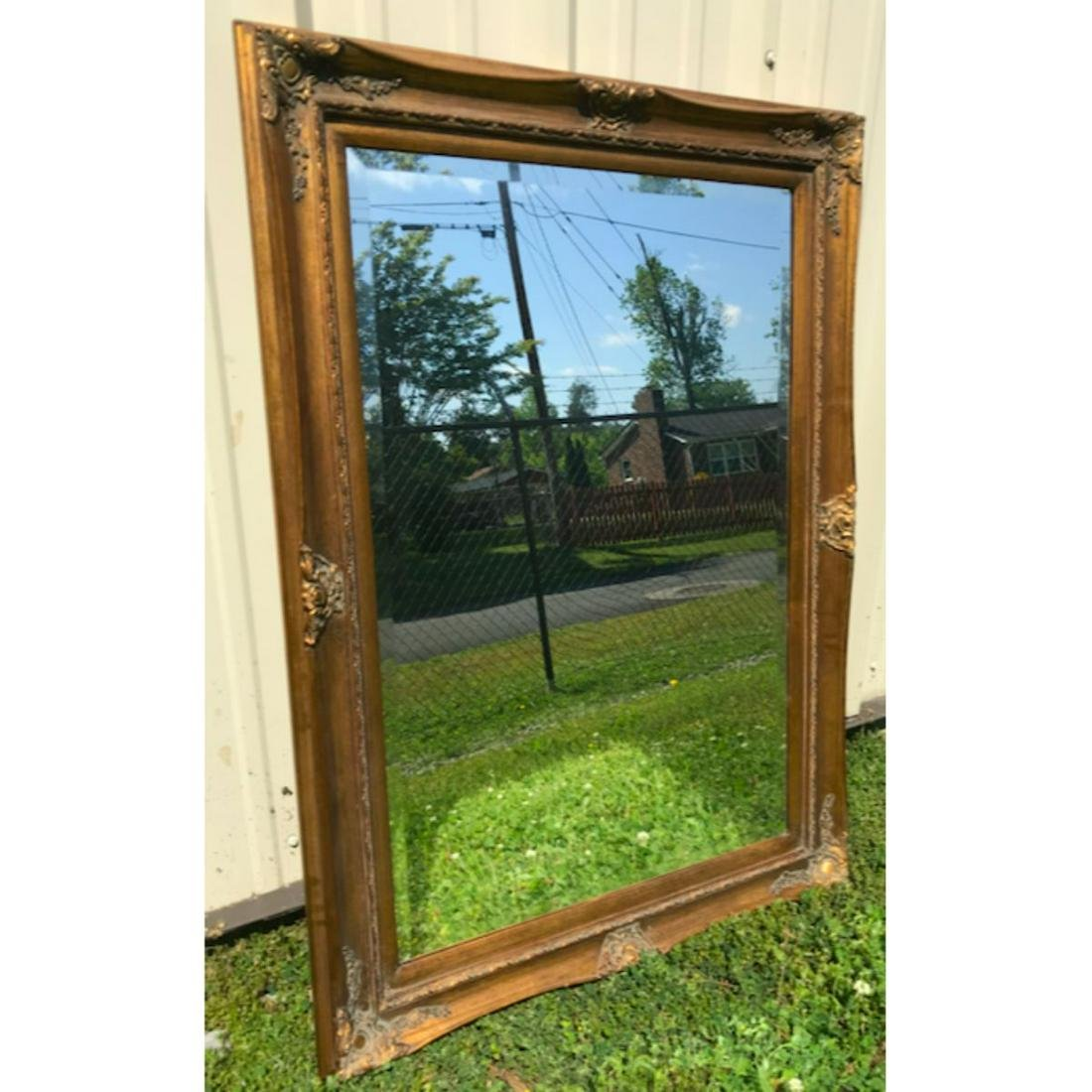 Antique-style Carved Gilt Wood Beveled Mirror