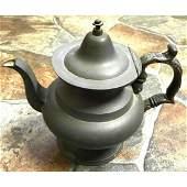 Rare 19thc Antique L. J. Curtiss Pewter Teapot