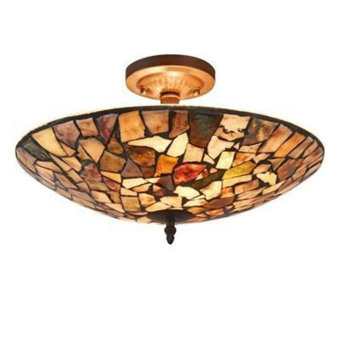 Transitional Mosaic Stone Semi-flush Ceiling Fixture