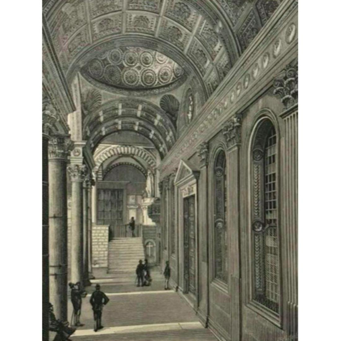 19thc Wood Engraving, Portico of the Pazzi Chapel,