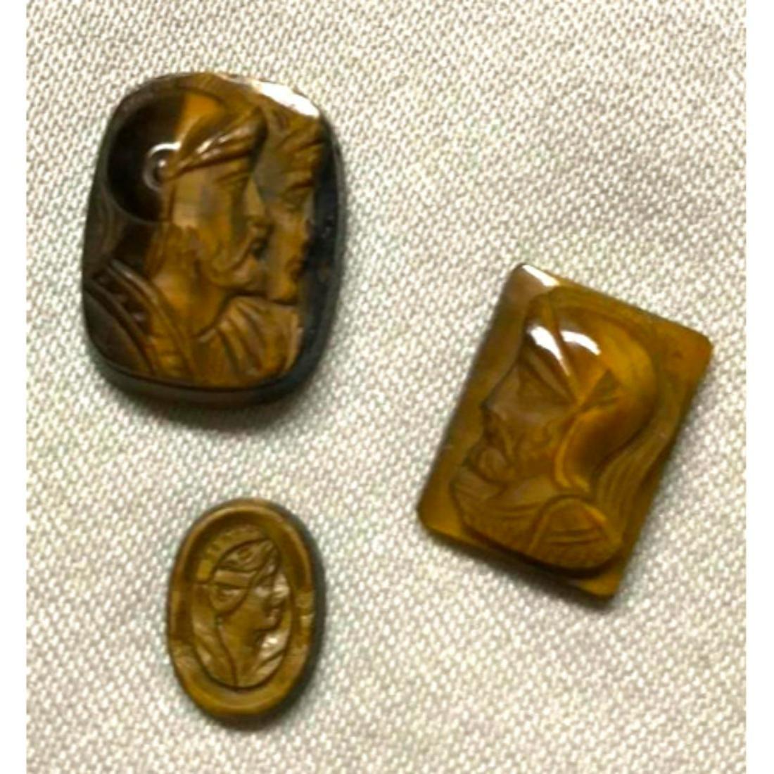 Vintage Group of Carved Tigers Eye Gemstones, Roman