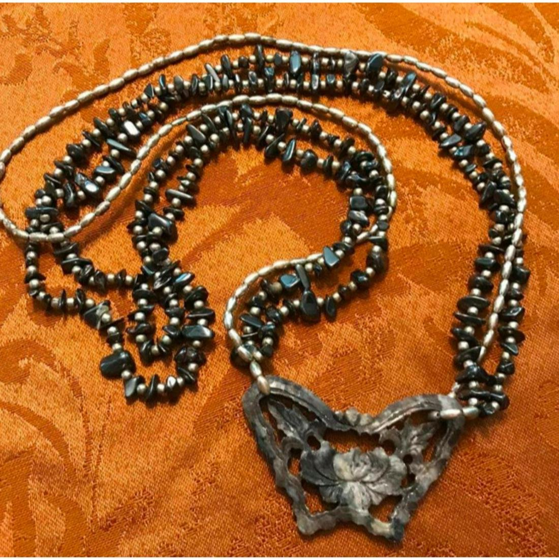 Carved Agate, Silver & Hematite Multi-Strand Butterfly