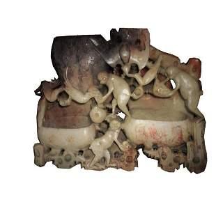 Soapstone Monkeys Dual Brush Pots Bixi Sculpture