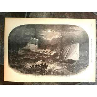 19thc Civil War Engraving Sinking of Confederate